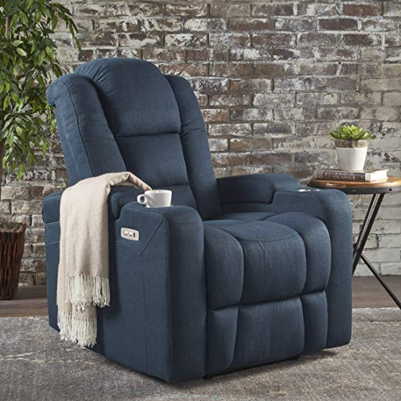 Christopher Knight Home Everette Navy Blue Leather Recliner Chair