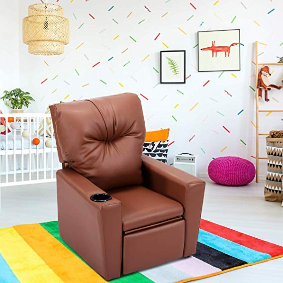 Costzon Kids Manual Leather Children Recliner