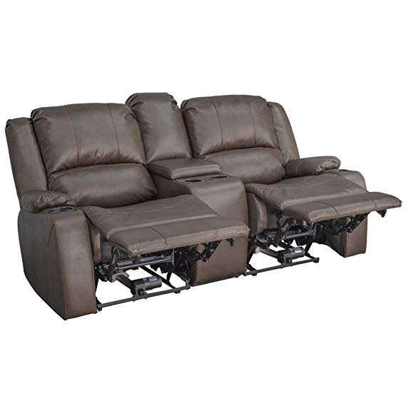 RecPro Charles 70″ Powered Double Recliner Sofa